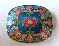 Vintage Cloisonne Enamel Butterflies And Flowers Brooch.